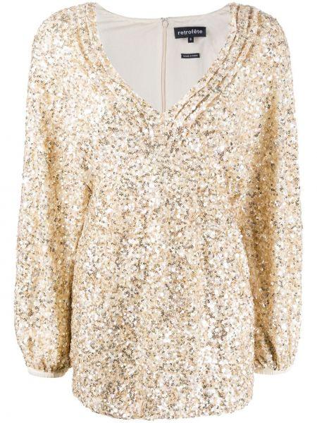 Платье макси с пайетками с вышивкой Retrofete