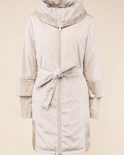 Утепленное бежевое пальто с воротником Madzerini