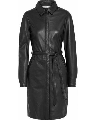 Кожаное черное платье с поясом Walter Baker