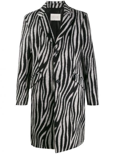 Czarny płaszcz wełniany z długimi rękawami Route Des Garden