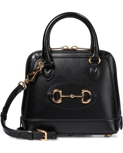 Skórzany czarny torba na ramię Gucci