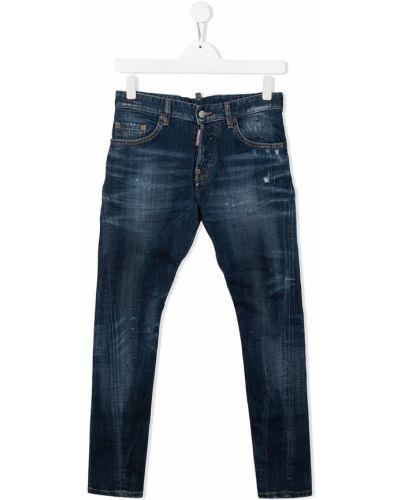 Синие зауженные джинсы-скинни с карманами Dsquared2 Kids