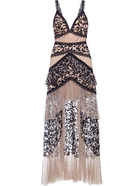 Бархатное черное ажурное платье макси без рукавов Patbo