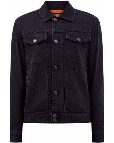 Черная кожаная джинсовая куртка с воротником Cortigiani
