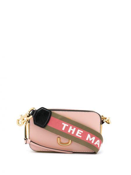 Z paskiem różowy mini torebka z prawdziwej skóry z łatami Marc Jacobs