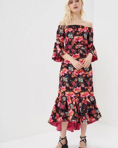 Розовое платье с открытыми плечами Cavo