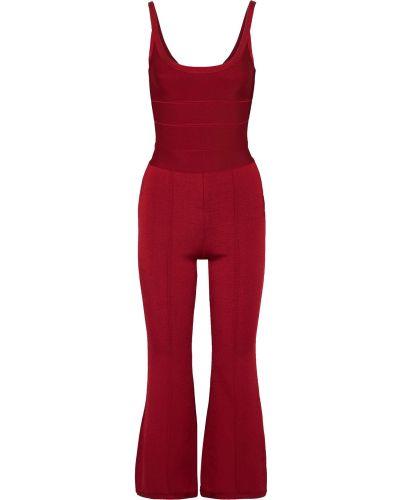 Текстильный красный комбинезон бандажный Hervé Léger