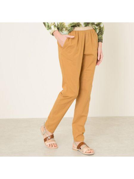 Текстильные коричневые брюки с поясом узкого кроя Hartford