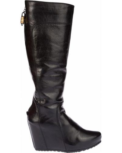 Черные кожаные сапоги Fabi