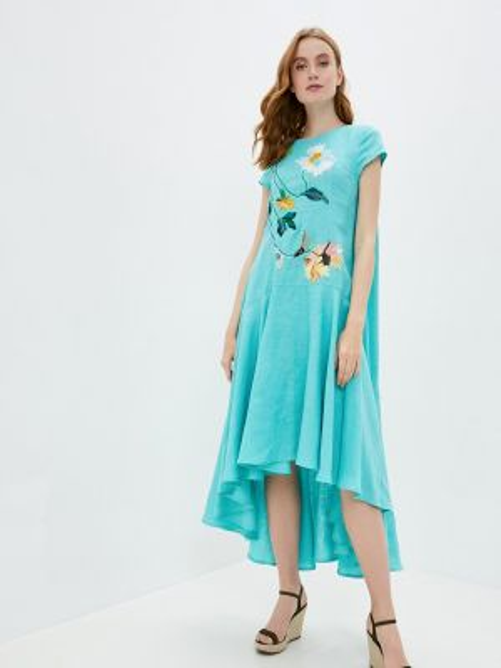 Повседневное платье бирюзовый весеннее Yukostyle