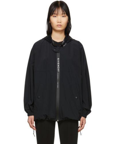 Biały ze sznurkiem do ściągania długa kurtka z długimi rękawami z kieszeniami Givenchy