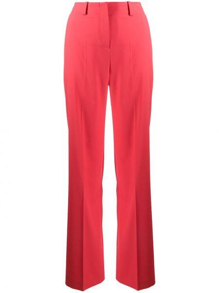 Красные прямые брюки из вискозы с потайной застежкой Boss Hugo Boss