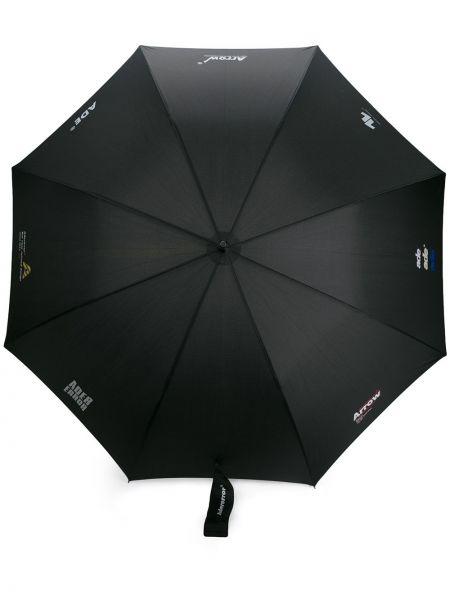 Czarny parasol z nylonu z printem Ader Error