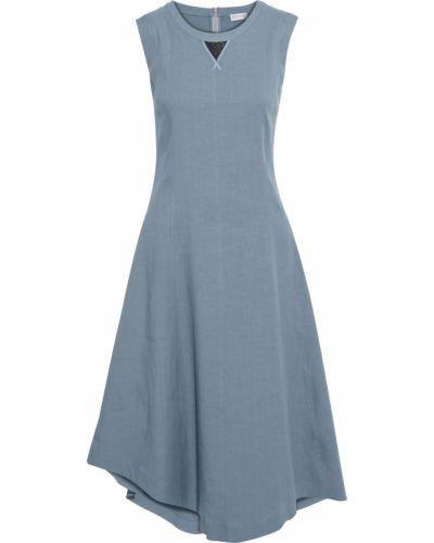 Льняное синее платье миди с подкладкой Brunello Cucinelli