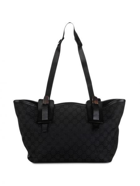 Парусиновая черная сумка на плечо с подкладкой Gucci Pre-owned