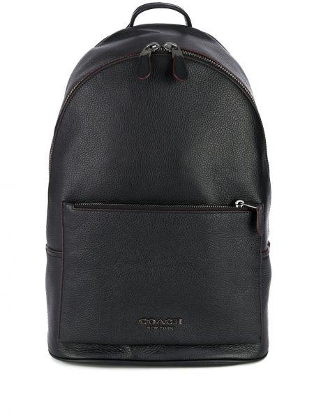 Кожаный черный рюкзак с карманами на молнии Coach