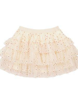 Белая юбка из фатина с вышивкой Bonpoint