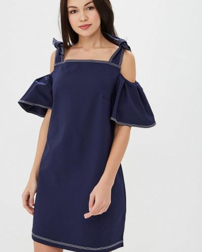 Синее платье с открытыми плечами Incity