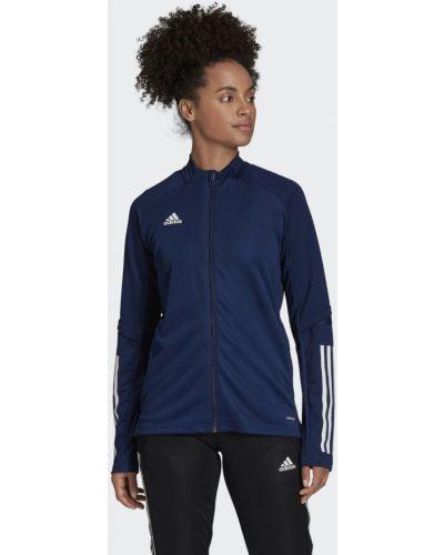 Синяя тренировочная приталенная футбольная олимпийка Adidas