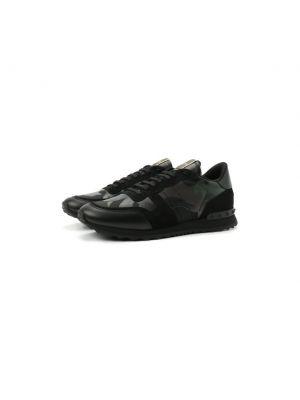 Кожаные кроссовки хаки Valentino