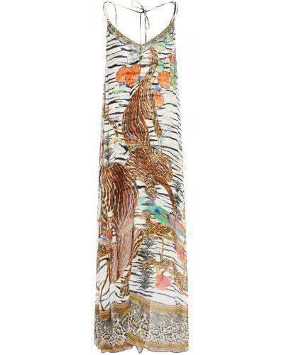 Шелковое бежевое кружевное платье Camilla