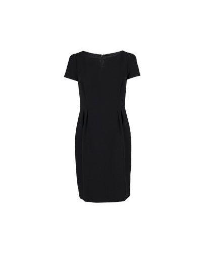 Шерстяное черное платье для офиса Luisa Spagnoli