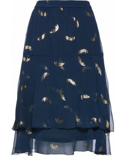 Юбка с поясом синяя Bonprix