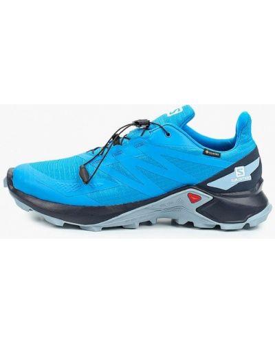 Синие кожаные кроссовки Salomon