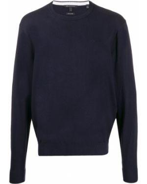 Синяя толстовка с вышивкой с вырезом узкого кроя Armani Exchange