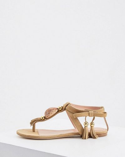 Бежевые кожаные сандалии Alberta Ferretti