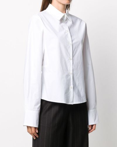 Белая рубашка с манжетами с воротником на пуговицах Odeeh