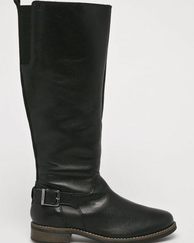 Кожаные сапоги на каблуке текстильные S.oliver