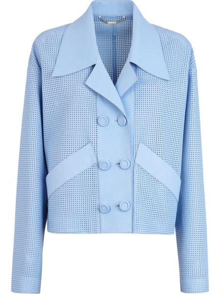 Кожаный синий классический пиджак двубортный Fendi