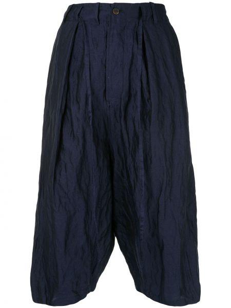 Синие шелковые брюки с поясом на пуговицах Forme D'expression