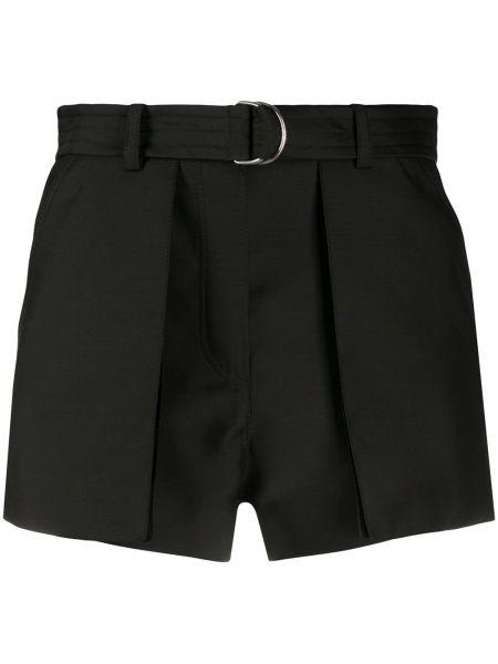 Шелковые черные шорты с поясом Lanvin