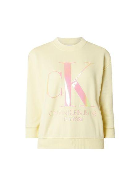Bawełna żółty migocący bluzka z dekoltem Calvin Klein Jeans