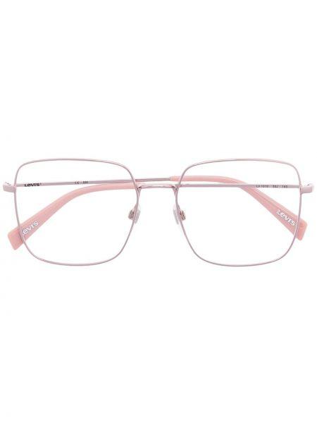 Różowa oprawka do okularów srebrna oversize Levi's