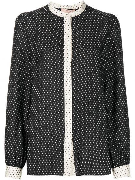 Шелковая черная блузка с вырезом Twin-set