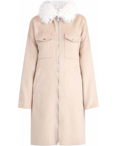 Пальто бежевое шерстяное Moncler