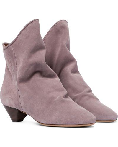Малиновые кожаные ботинки свободного кроя Isabel Marant