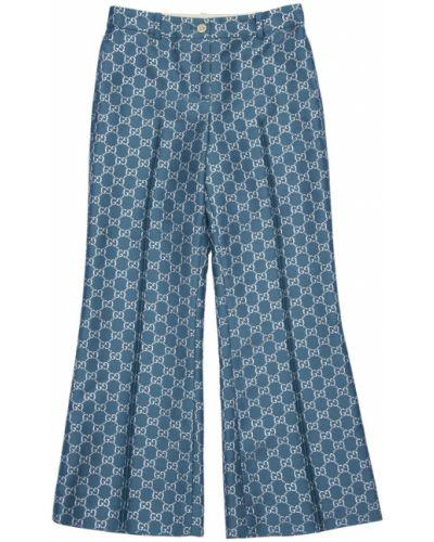Niebieskie spodnie wełniane z paskiem Gucci