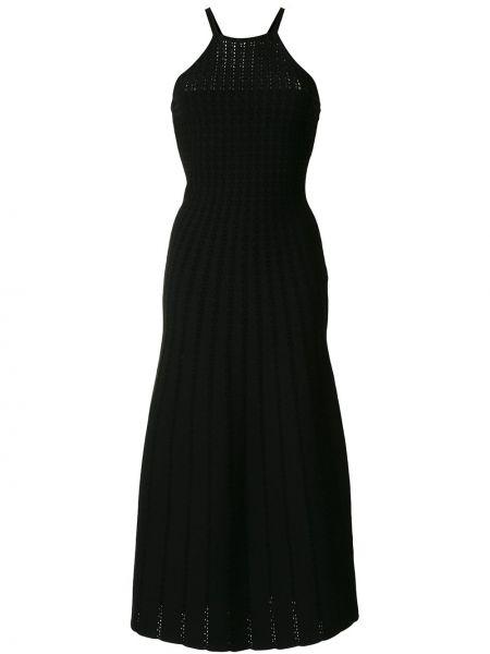 Czarny wyposażone sukienka bez rękawów z wiskozy Carolina Herrera