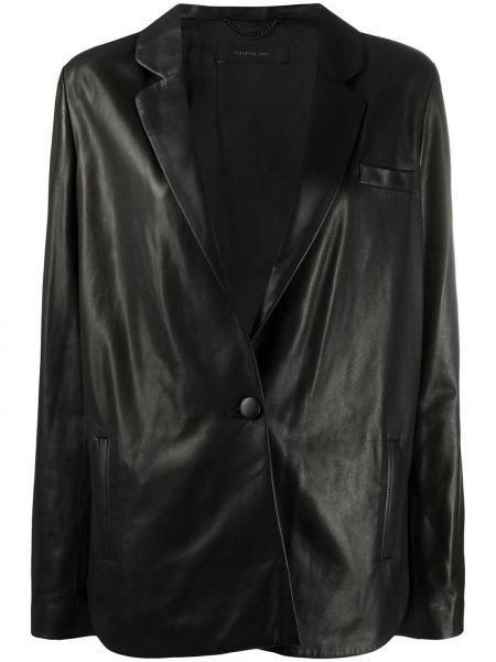 Однобортный черный кожаный удлиненный пиджак Federica Tosi