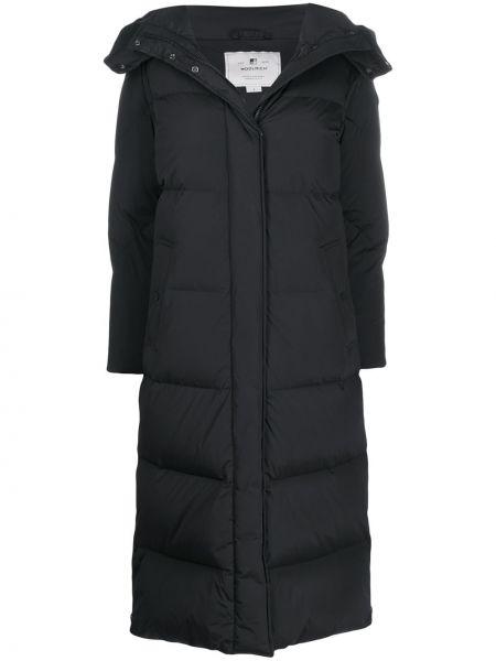 Шерстяное пальто с капюшоном на молнии айвори с перьями Woolrich