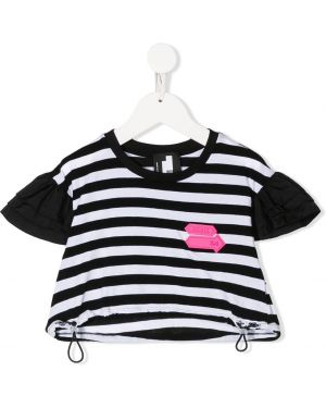 Хлопковая черная футболка круглая с круглым вырезом Cinzia Araia Kids