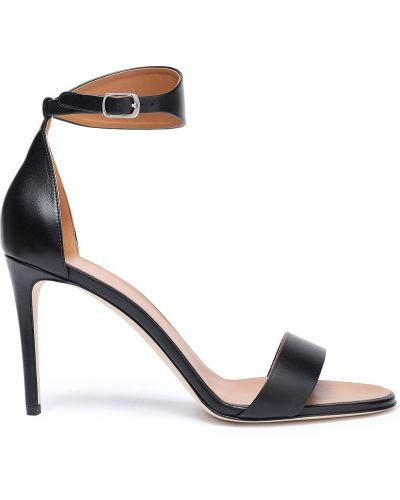 Czarne sandały skorzane klamry Victoria Beckham