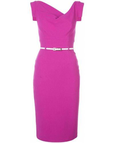 Фиолетовое приталенное классическое платье миди с вырезом Black Halo