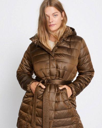 Теплая коричневая утепленная куртка Violeta By Mango