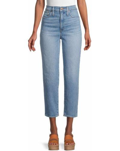 Хлопковые прямые укороченные джинсы с карманами Madewell