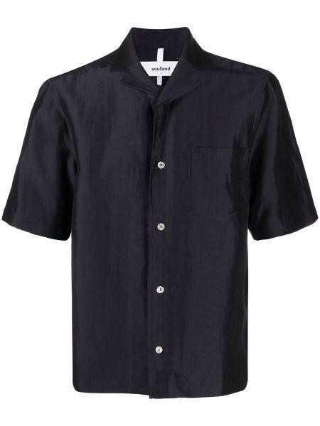 Синяя прямая рубашка с короткими рукавами с воротником на пуговицах Soulland